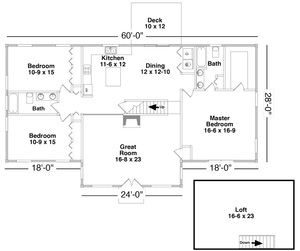 Floor Plan for the AUBURN by Century Cedar Homes
