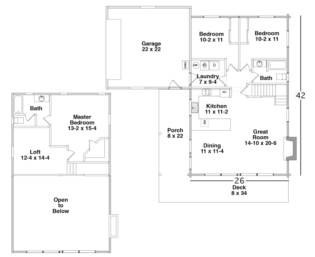 Floor Plan for the FOREST LAKE by Century Cedar Homes