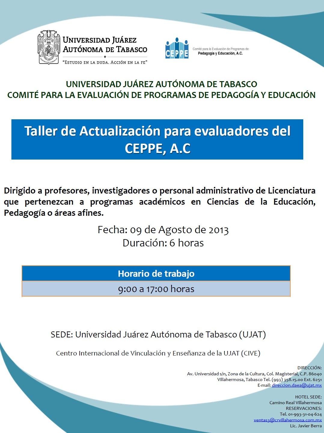 Convocatoria Taller de Actualización para evaluadores de CEPPE, AC
