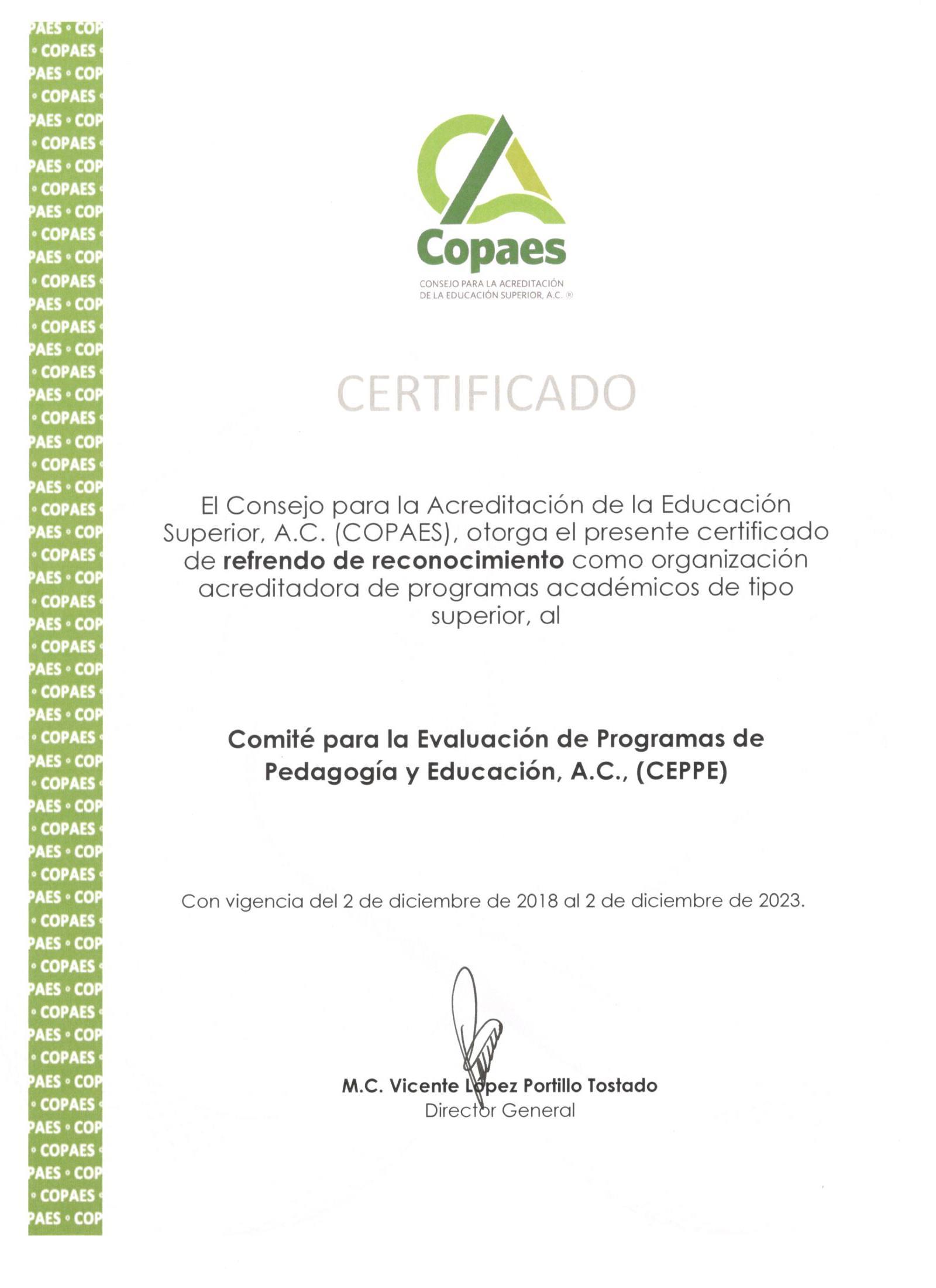 El COPAES entrega el certificado de refrendo de reconocimiento al CEPPE