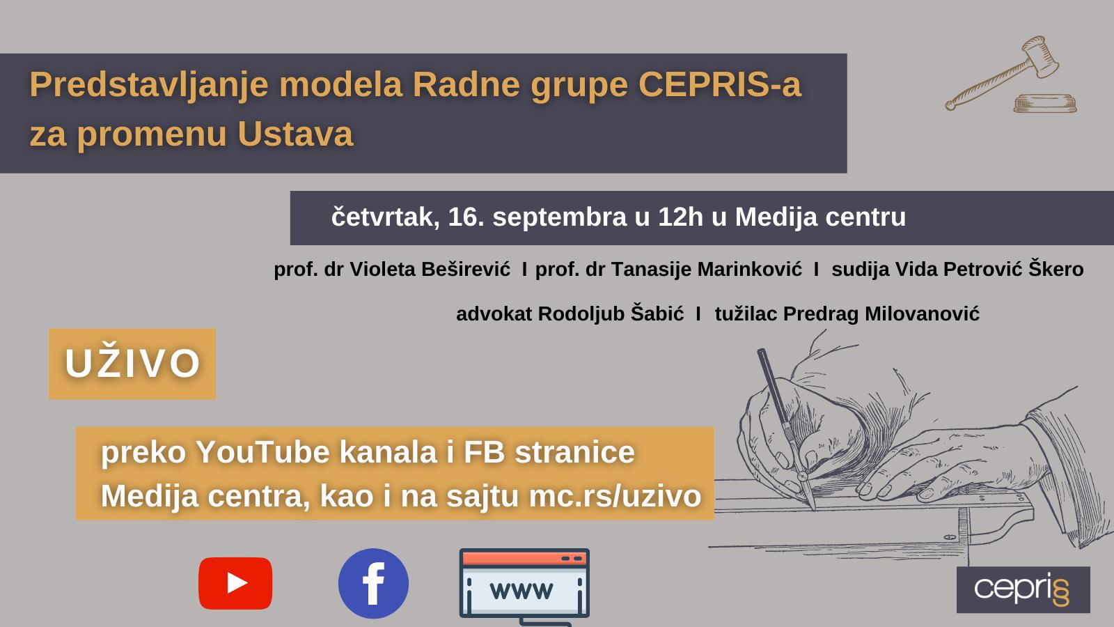 Amandmani na Ustav RS – Predstavljanje modela Radne grupe CEPRIS-a