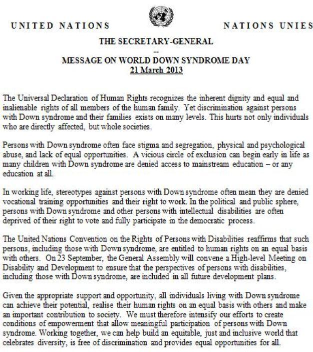 Ban Ki Moon message