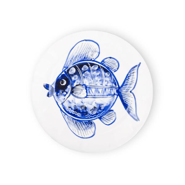 Piatto decorazione pesce dipinto a mano