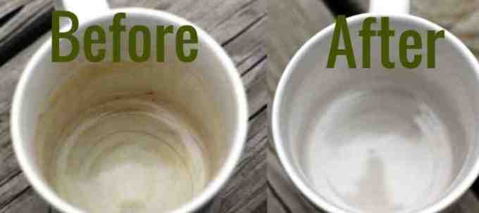 How to remove stains from a white ceramic cup