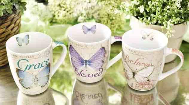 Amazing grace butterfly ceramic mug