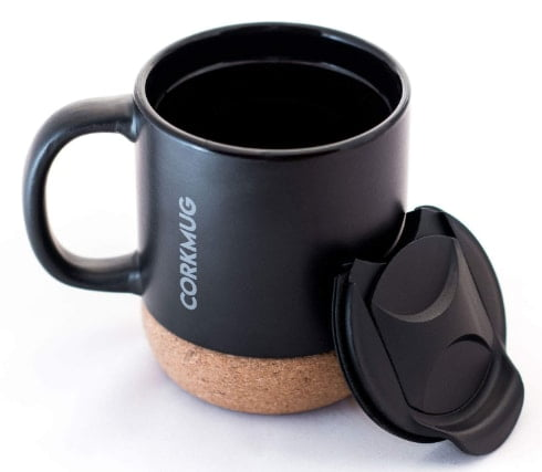 Cork mug black ceramic mug