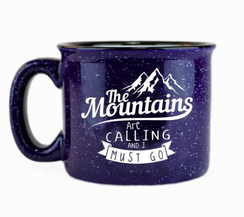 The mountains ceramic campfire coffee mug