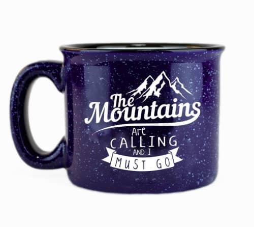The mountains ceramic campfire coffee mug