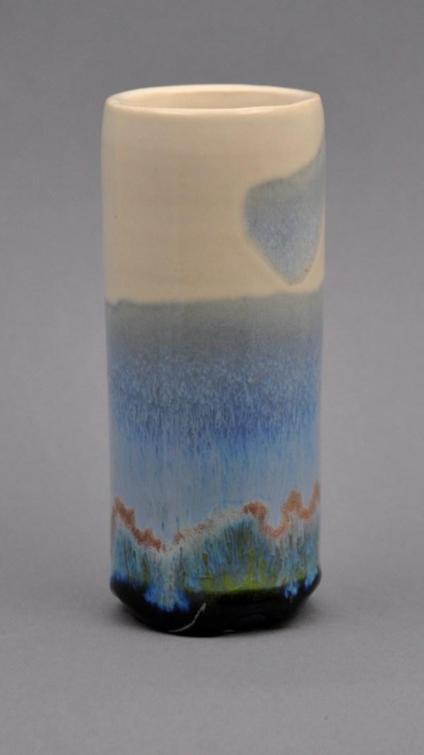 blue-green windowsill vase