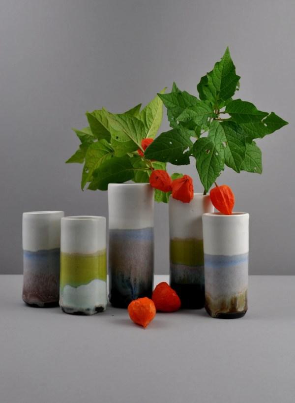 green-blue Windowsill Vase with physalis