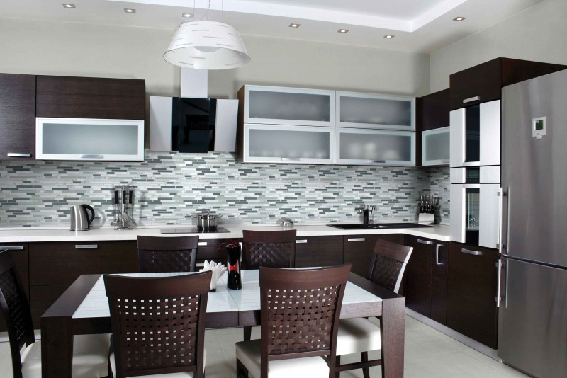 glass and stone mosaic tile installation