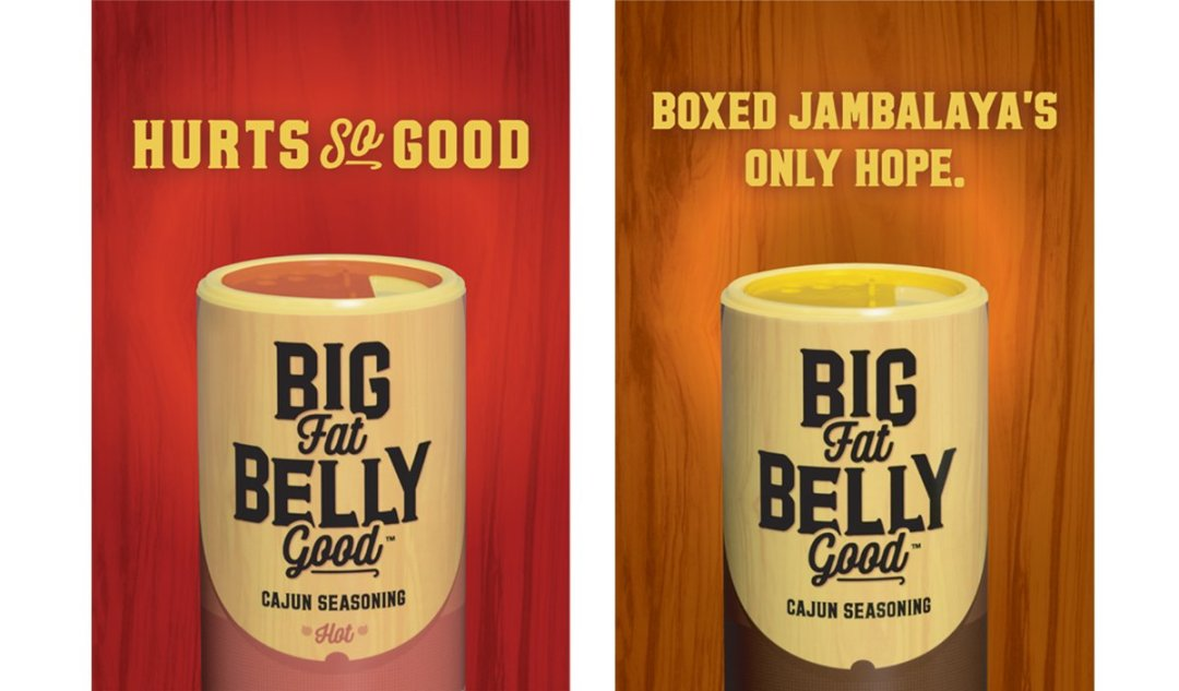 Out of home advertising campaign for Big Fat Belly Good, developed by Cerberus Agency of New Orleans.
