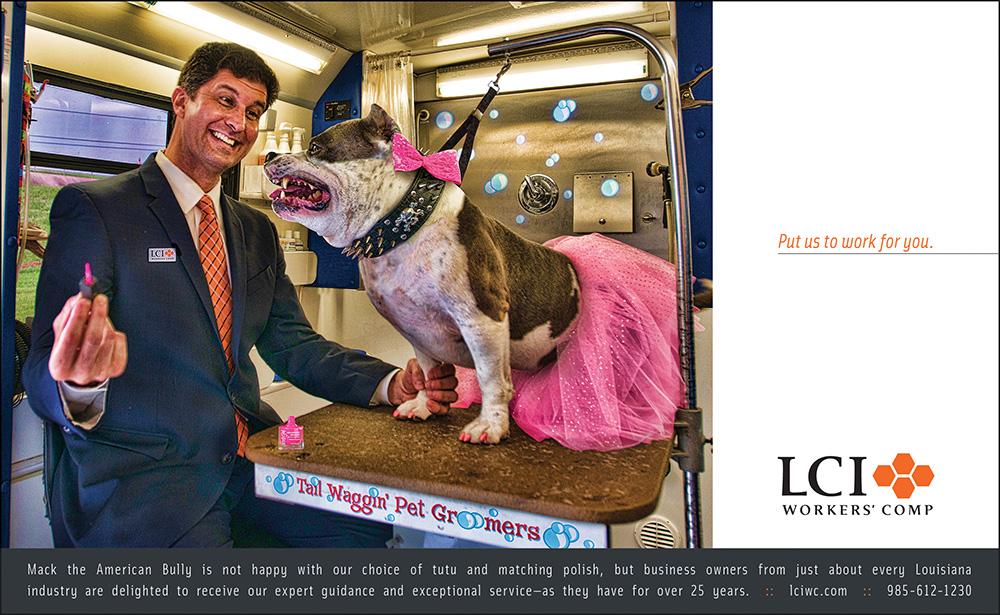 LCI Workers' Comp Print Advertising Ad - Shot in Kenner's Rivertown.