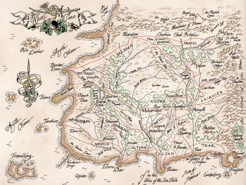 Mappa fanmade de La Ruota del Tempo, in cui è ben visibile the Spine of the World