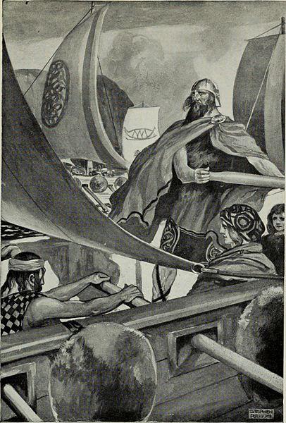 L'arrivo dei Milesi, gli ultimi invasori. Immagine dal libro Myths and legends; the Celtic race di T. W. Rolleston (1857-1920)
