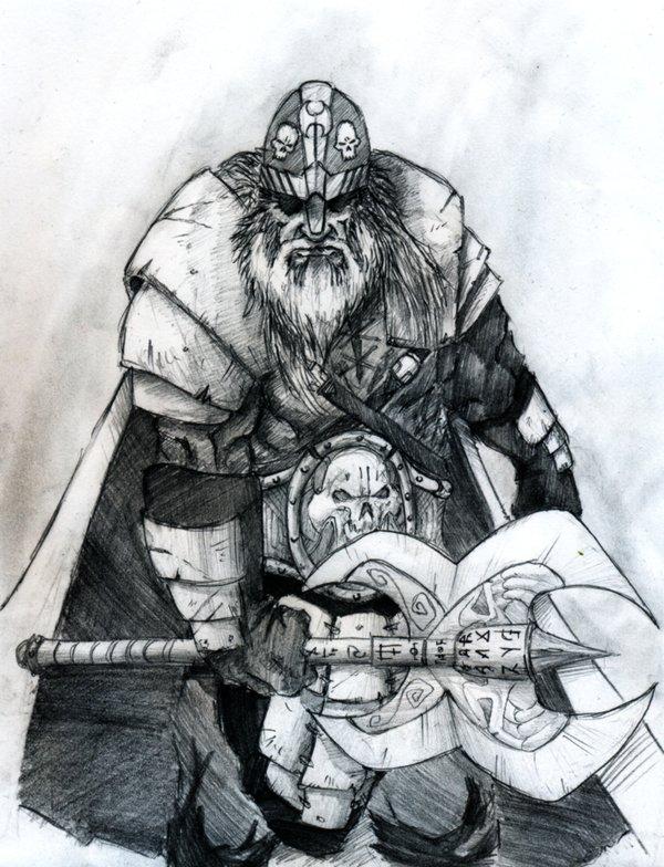 Una raffigurazione del personaggio di David Gemmell Druss la Leggenda con la sua ascia Snaga