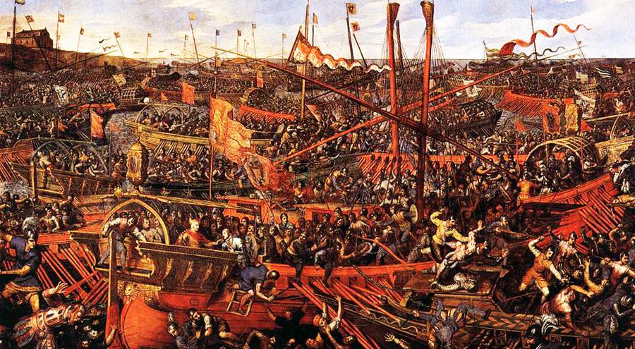 Un dipinto della battaglia di Lepanto a cui le vicende del libro fanno da apertura