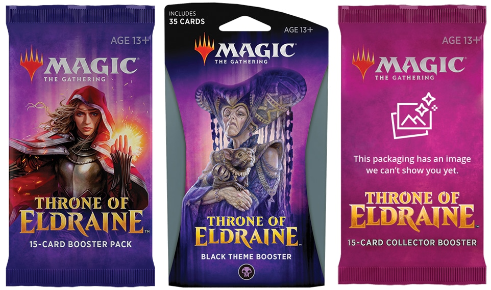 Tre buste contenenti carte di Magic: the Gathering dell'espansione Trono di Eldraine