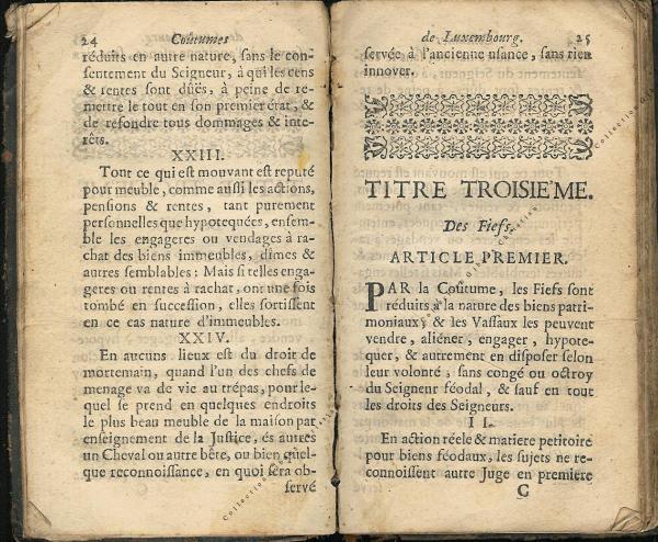 Coutumes Générales des Pays Duché de Luxembourg pages 24 - 25