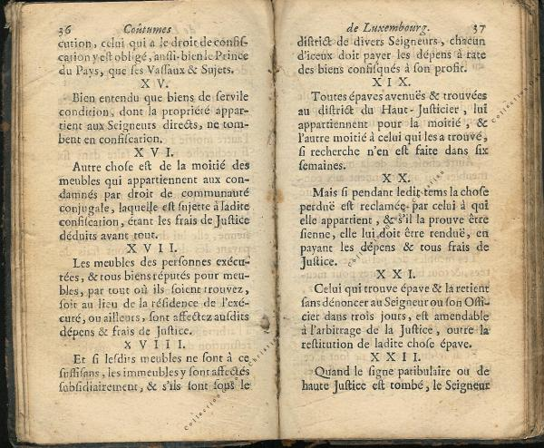 Coutumes Générales des Pays Duché de Luxembourg pages 36 - 37