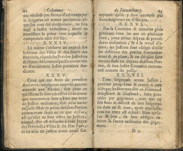 Coutumes Générales des Pays Duché de Luxembourg pages 42 - 43