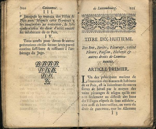 Coutumes Générales des Pays Duché de Luxembourg pages 100 - 101