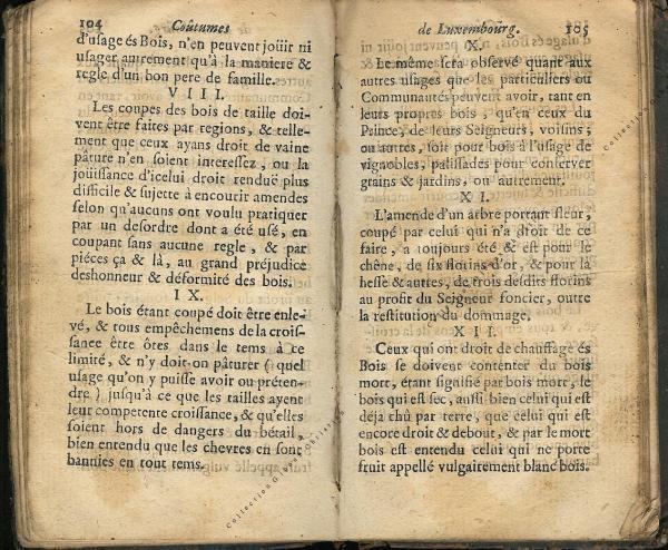 Coutumes Générales des Pays Duché de Luxembourg pages 104 - 105