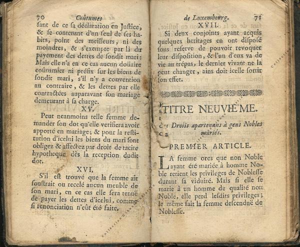 Coutumes Générales des Pays Duché de Luxembourg pages 70 - 71