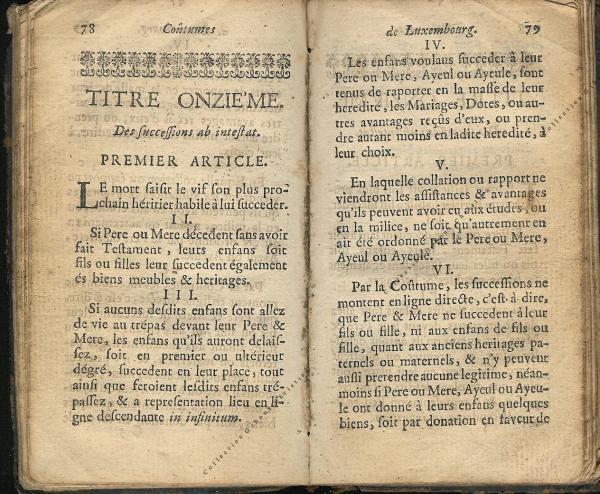 Coutumes Générales des Pays Duché de Luxembourg pages 78 - 79