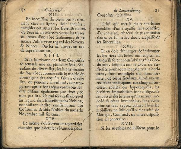 Coutumes Générales des Pays Duché de Luxembourg pages 82 - 83