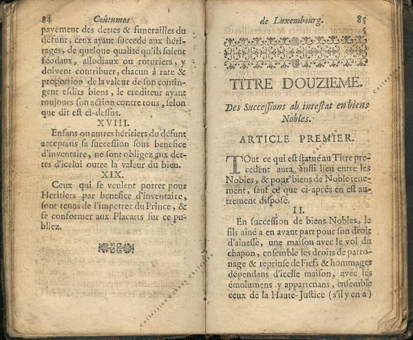 Coutumes Générales des Pays Duché de Luxembourg pages 84 - 85