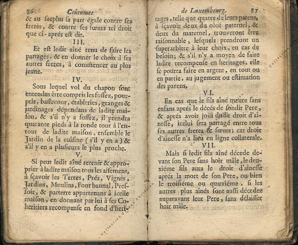 Coutumes Générales des Pays Duché de Luxembourg pages 86 - 87
