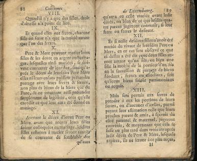 Coutumes Générales des Pays Duché de Luxembourg pages 88 - 89