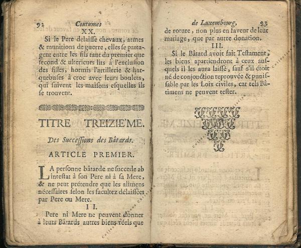 Coutumes Générales des Pays Duché de Luxembourg pages 92 - 93