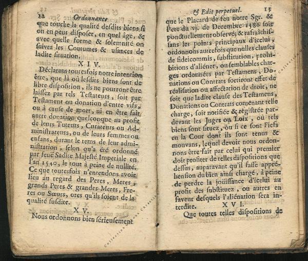 Ordonnance et Edit perpétuel des Archiducs pages 12 - 13