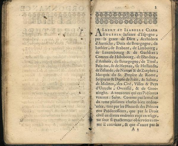 Ordonnance et Edit perpétuel des Archiducs pages 2 - 3