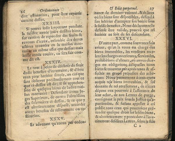 Ordonnance et Edit perpétuel des Archiducs pages 26 - 27