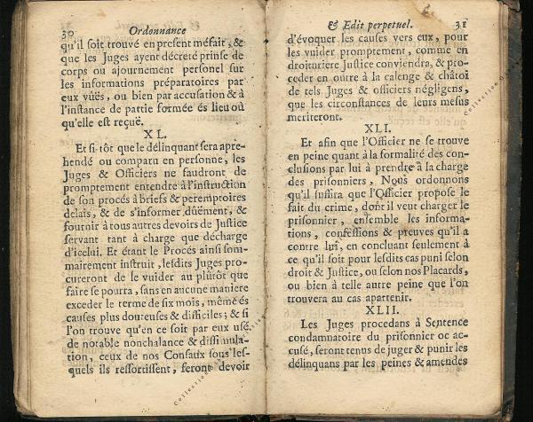 Ordonnance et Edit perpétuel des Archiducs pages 30 - 31