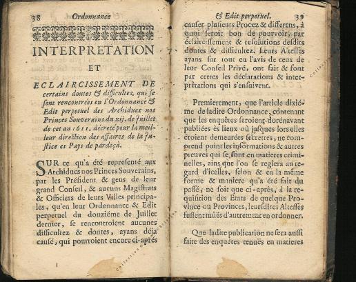 Ordonnance et Edit perpétuel des Archiducs pages 38 - 39