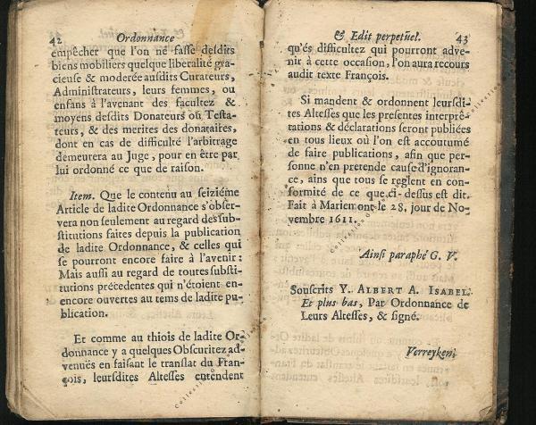 Ordonnance et Edit perpétuel des Archiducs pages 42 - 43