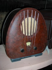 Bakelite radio at the Bakelite Museum, Orchard Mill, Williton, Somerset, UK.