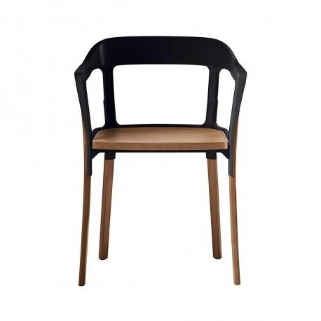 chaise design steelwood magis noir bois clair