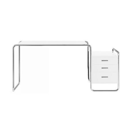 s285 1 bureau design thonet 1 bloc exterieur 3 tiroirs blanc laque structure chrome