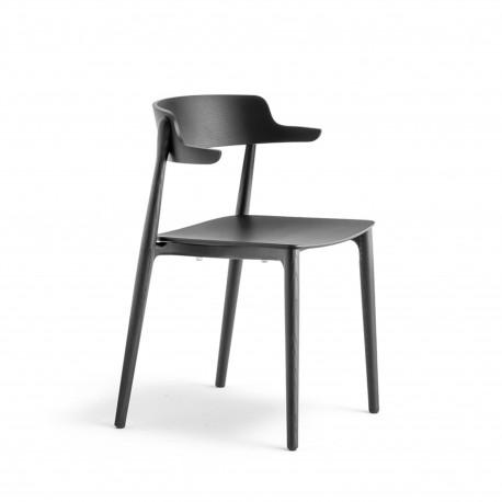 lot de 2 chaises bois design nemea 2825 pedrali frene noir