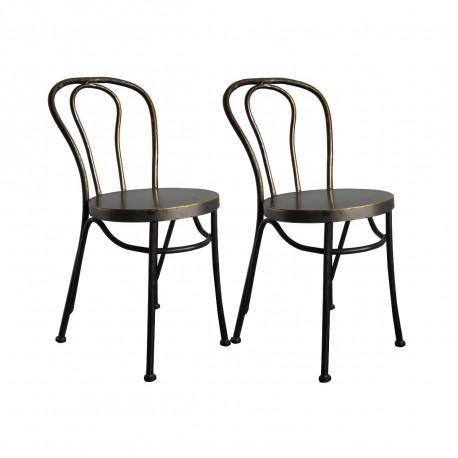 lot de 2 chaises paris metal hanjel