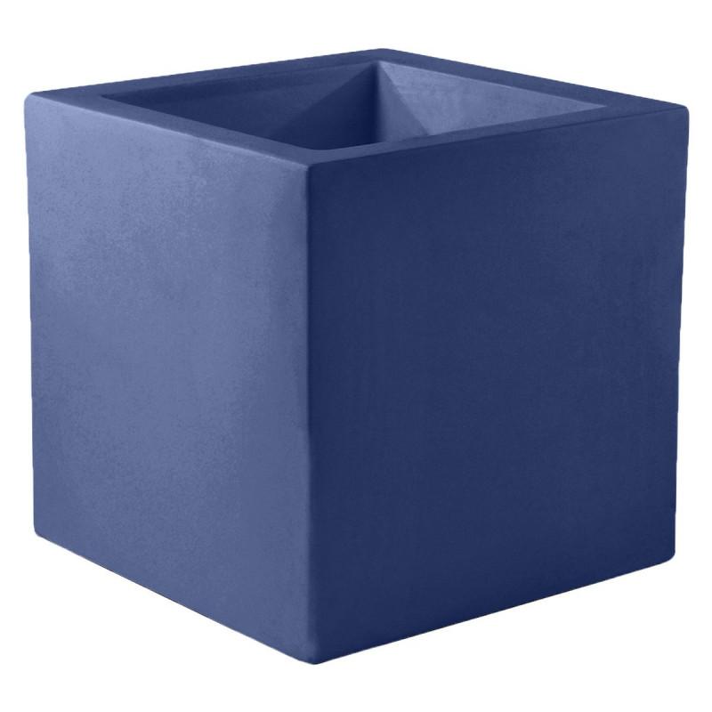 pot de fleur carre 80x80x80 cm bleu marine simple paroi vondom