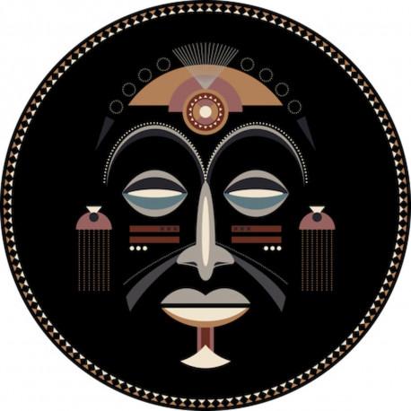 tapis vinyle rond masque africain homme diametre 145cm collection baba souk podevache