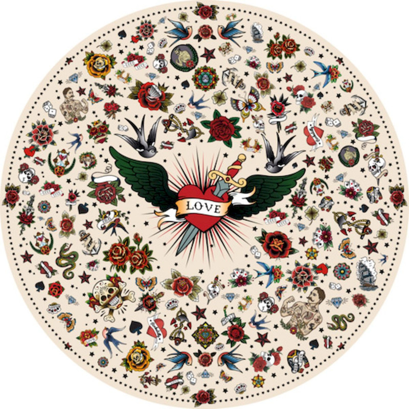 tapis vinyle rond tatouage love beige diametre 145cm collection tattoo compris podevache