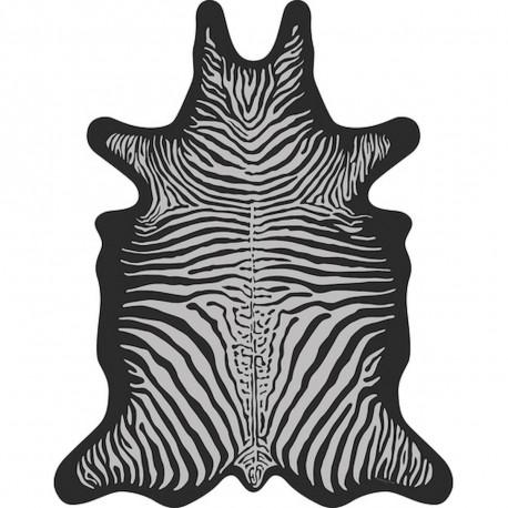 tapis zebre xxl vinyle forme peau de bete podevache gris clair fond noir 198x250cm