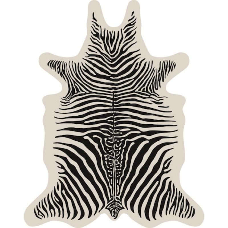 tapis podevache zebre fond ecru xl vinyle forme peau de bete 148 x 187 cm collection baba souk